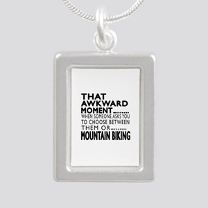 Mountain Biking Awkward Silver Portrait Necklace