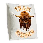 Team Ginger Scottish Highland Burlap Throw Pillow