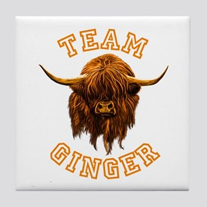 Team Ginger Scottish Highland Cow Tile Coaster