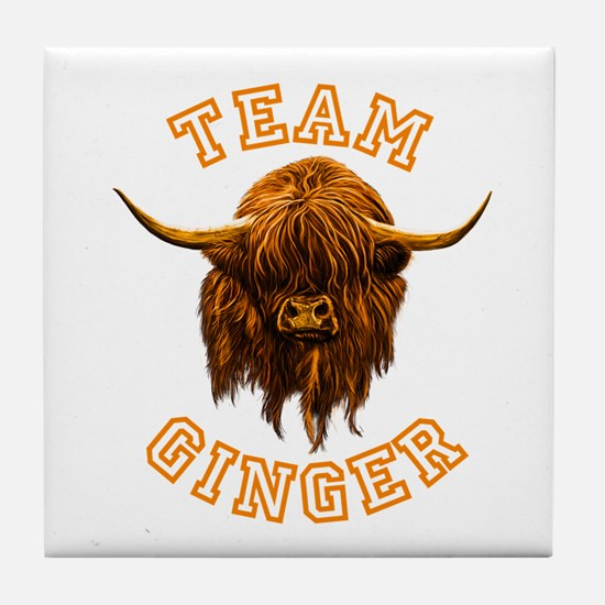 Team Ginger Scottish Highland Cow Tile Coaster
