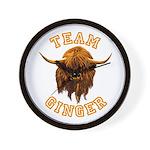 Team Ginger Scottish Highland Cow Wall Clock