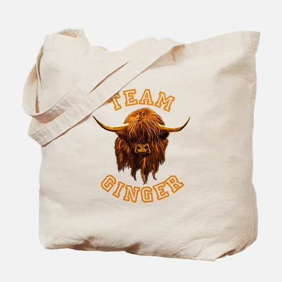 Team Ginger Scottish Highland Cow Tote Bag