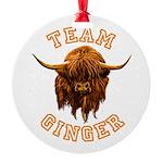 Team Ginger Scottish Highland Cow Round Ornament