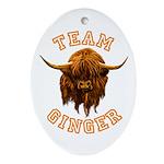 Team Ginger Scottish Highland Cow Oval Ornament