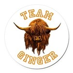 Team Ginger Scottish Highland Cow Round Car Magnet