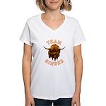 Team Ginger Scottish Highla Women's V-Neck T-Shirt