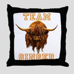 Team Ginger Scottish Highland Cow Throw Pillow