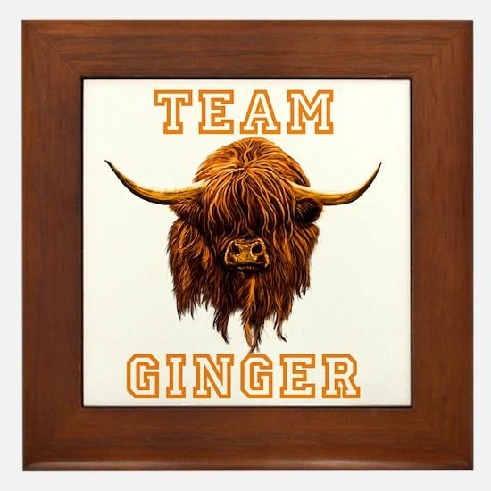 Team Ginger Scottish Highland Cow Framed Tile