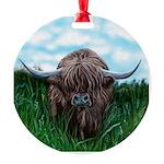 Scottish Highland Cow Painting Round Ornament