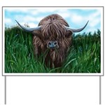 Scottish Highland Cow Painting Yard Sign