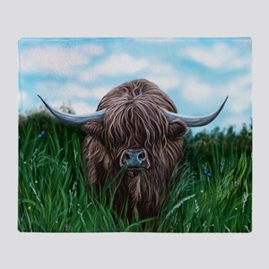Scottish Highland Cow Painting Throw Blanket