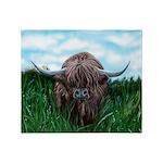 Scottish Highland Cow Painting Throw Blanket
