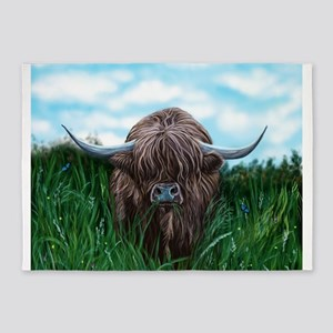 Scottish Highland Cow Painting 5'x7'Area Rug