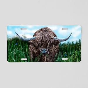 Scottish Highland Cow Painting Aluminum License Pl