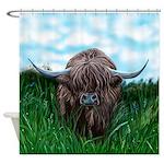 Scottish Highland Cow Painting Shower Curtain