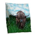 Scottish Highland Cow Painting Burlap Throw Pillow