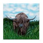 Scottish Highland Cow Painting Tile Coaster