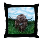 Scottish Highland Cow Painting Throw Pillow