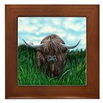 Scottish Highland Cow Painting Framed Tile