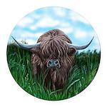 Scottish Highland Cow Painting Round Car Magnet