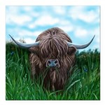 Scottish Highland Cow Painting Square Car Magnet 3