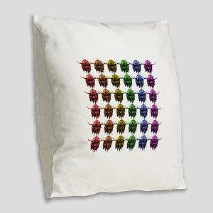 Rainbow Herd Burlap Throw Pillow