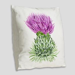 Bonnie Thistle Burlap Throw Pillow