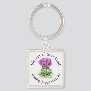 Jaggy Thistle Square Keychain