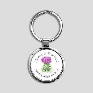 Jaggy Thistle Round Keychain