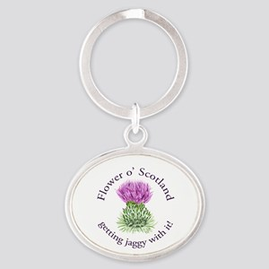 Jaggy Thistle Oval Keychain