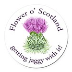 Jaggy Thistle Round Car Magnet