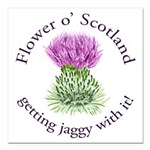 Jaggy Thistle Square Car Magnet 3