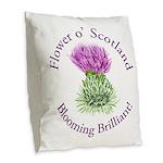 Blooming Thistle Burlap Throw Pillow