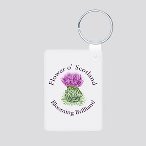 Blooming Thistle Aluminum Photo Keychain