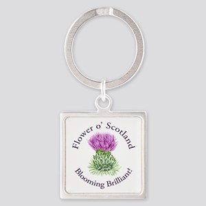 Blooming Thistle Square Keychain