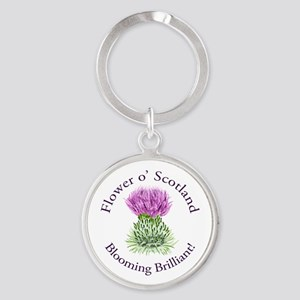 Blooming Thistle Round Keychain
