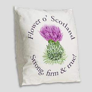 Scottish Thistle Burlap Throw Pillow