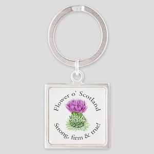Scottish Thistle Square Keychain