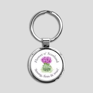 Scottish Thistle Round Keychain