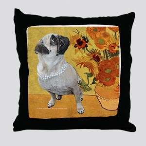 Van Gough Pug Art Throw Pillow