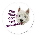 Wee Westie's Wisdom Round Car Magnet