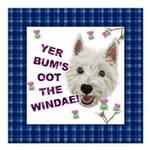 Wee Westie Words of Wisdom Square Car Magnet 3