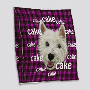 Westie wants his cake Burlap Throw Pillow
