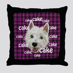 Westie wants his cake Throw Pillow