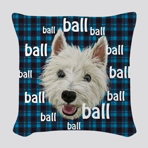 Westie Ballclock Woven Throw Pillow