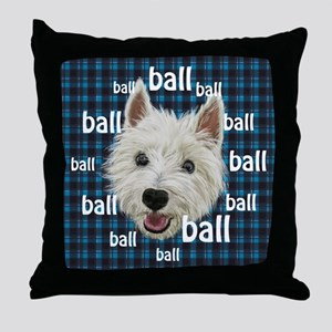 Westie Ballclock Throw Pillow