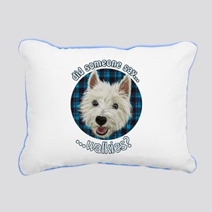 Smiley Westie, Walkies Rectangular Canvas Pillow