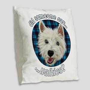 Smiley Westie, Walkies Burlap Throw Pillow