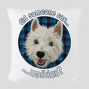 Smiley Westie, Walkies Woven Throw Pillow