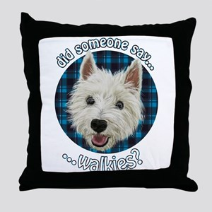 Smiley Westie, Walkies Throw Pillow